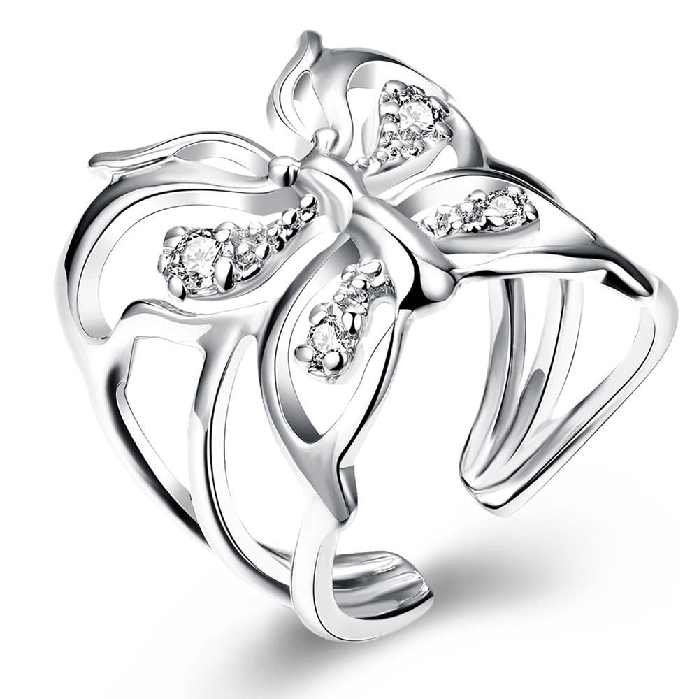 Silver Plated Butterfly Finger Ring for Women
