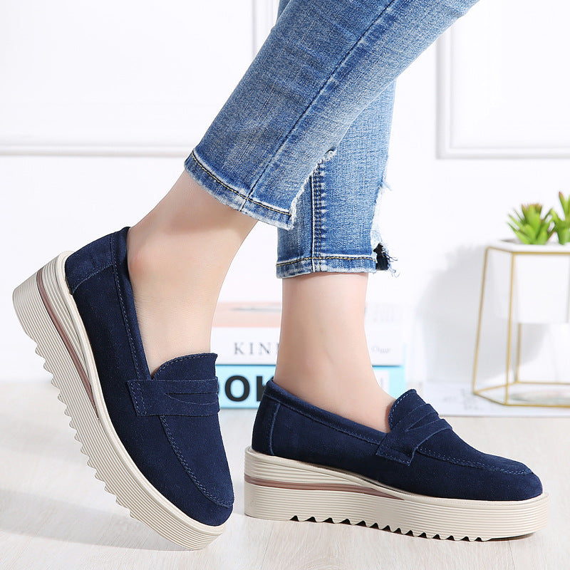 Genuine Leather Comfy Platform Slip On Rocker Bottom Shoes