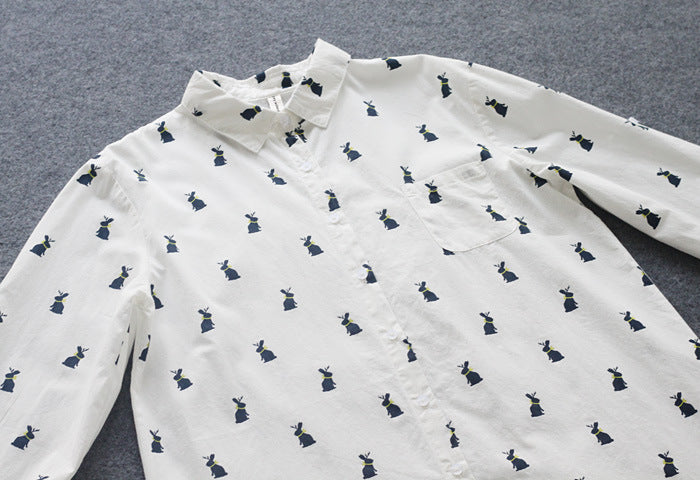 Women Cotton Printed Rabbit Pattern Blouse Skirt