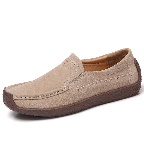 Cowhide Leather Slip On Leisure Snail Shoes Flat Loafers