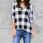 Printed Grid V-Neck Long Sleeve Blouse Shirts