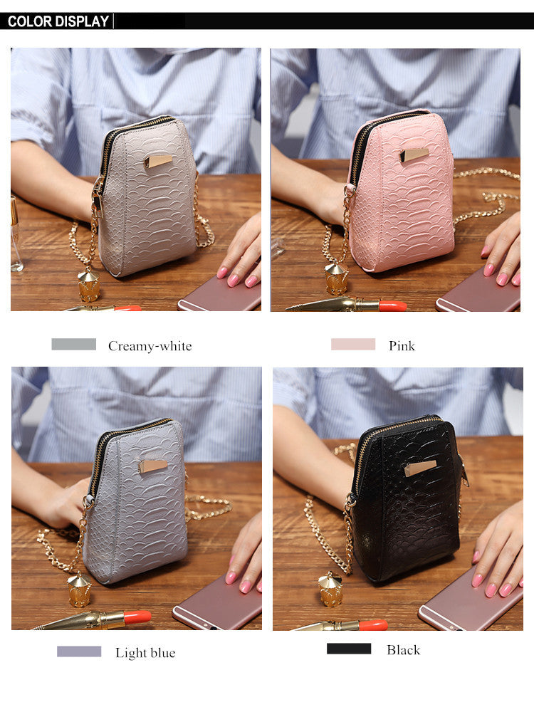 Universal Mini Vertical PU Storage Shoulder Bag Wallet With Metal Chain For 6.0 Inches Smartphone