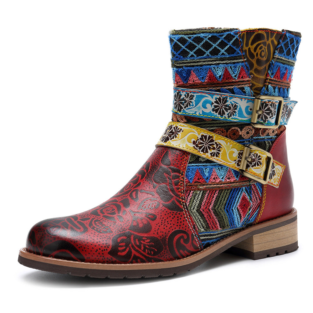 Bohemian Retro Embroidery Genuine Leather Boots - MagCloset
