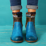 Handmade Embroidery Splicing Pattern Genuine Leather Ankle Boots