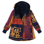 Floral Print Hooded Long Sleeve Fleece Lining Vintage Coats