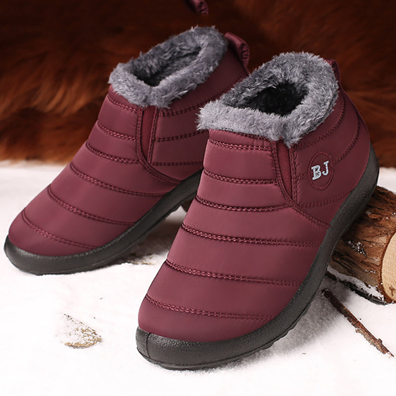 Waterproof Warm Fur Lining Soft Sole Flat Ankle Snow Boots