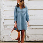 Casual Solid Color Lantern Sleeve Denim Dress