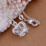 Fashion Set Auger Crown Silver Plated Pendant - MagCloset