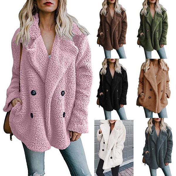 Double-Breasted Lapels Loose Fur Coat - MagCloset