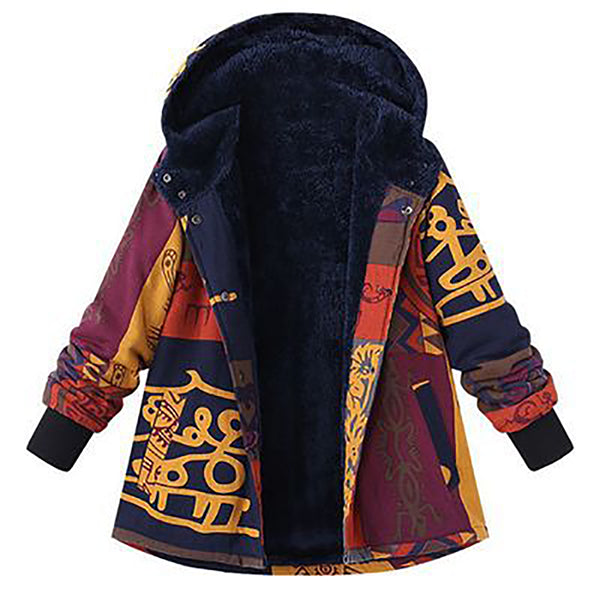 Floral Print Hooded Long Sleeve Fleece Lining Vintage Coats - MagCloset