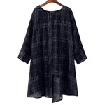 Cotton Linen Batwing Sleeve Loose Tops Check Plaid Blouse Shirt - MagCloset