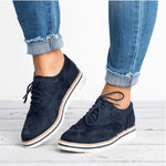 Women Brogues Lace Up Flat Shoes