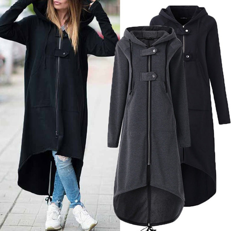 Irregular Button Decorate Zipper Long Cardigan