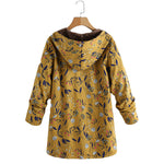 Leaves Floral Print Hooded Long Sleeve Fashion Coats