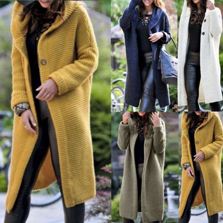Fashion Hooded Long Cardigan Jacket Warm Sweater Coat - MagCloset