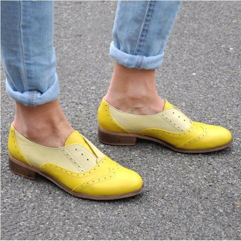 Womens Brogues Slip on Shoes