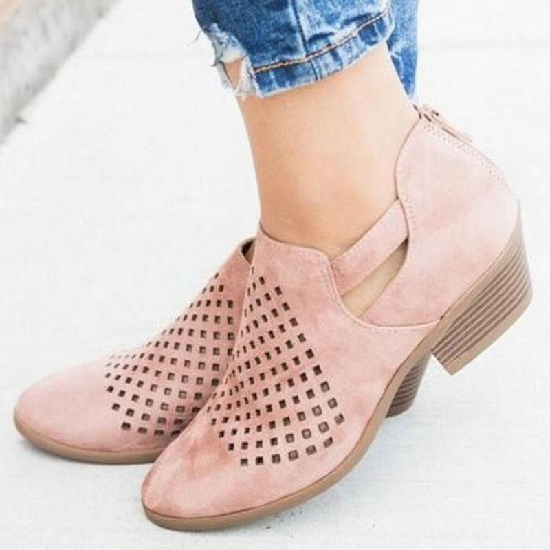 Hollow Out Chunky Heel Shoes