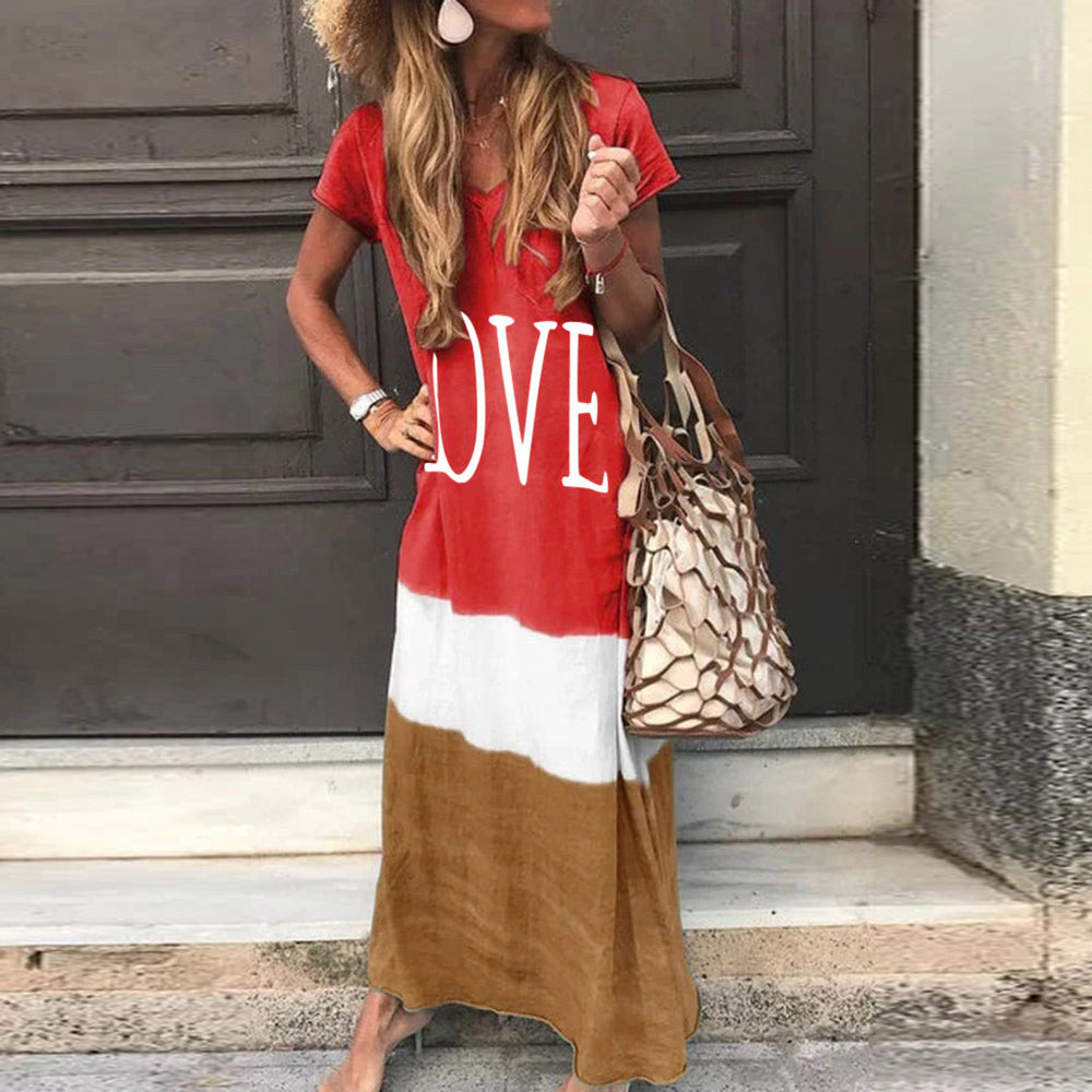 V Neck Casual Striped Short Sleeve Letter Printed Dresses