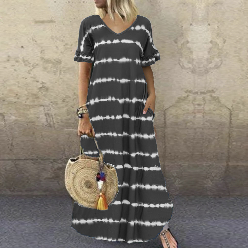 V-Neck Ruffle Sleeve Striped Printed Maxi Dress