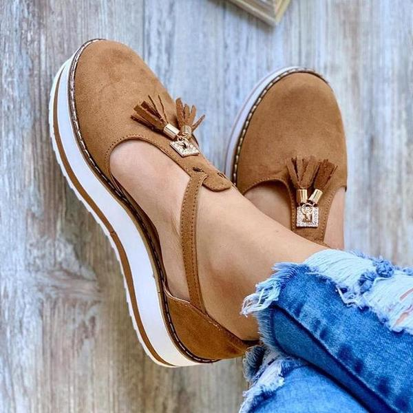 Tassel Thick Bottom Buckled Sandals