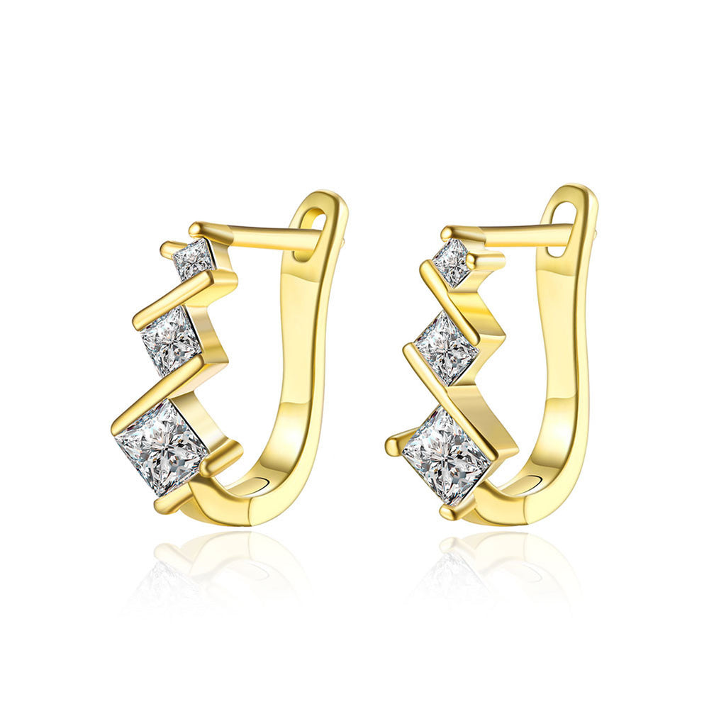 Fashion 3 Diamonds Gold-Plated Ear Clip Earrings - MagCloset