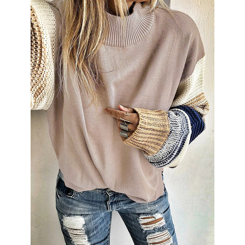 Solid Color Round Neck Loose Knit Sweater