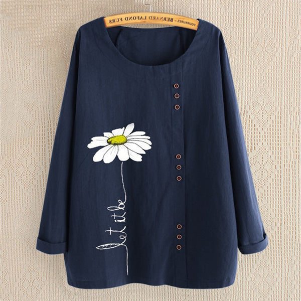 Buttoned Cotton Linen Printed Loose Long-Sleeved Shirt