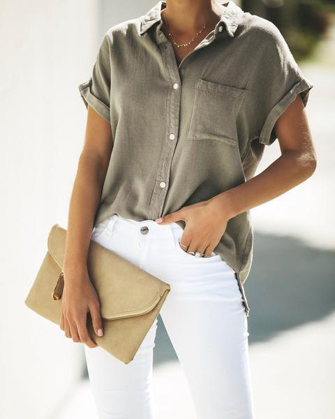 Solid Color Casual Pocket Shirts