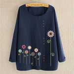 Buttoned Flower Printed Loose Long-Sleeved Shirts