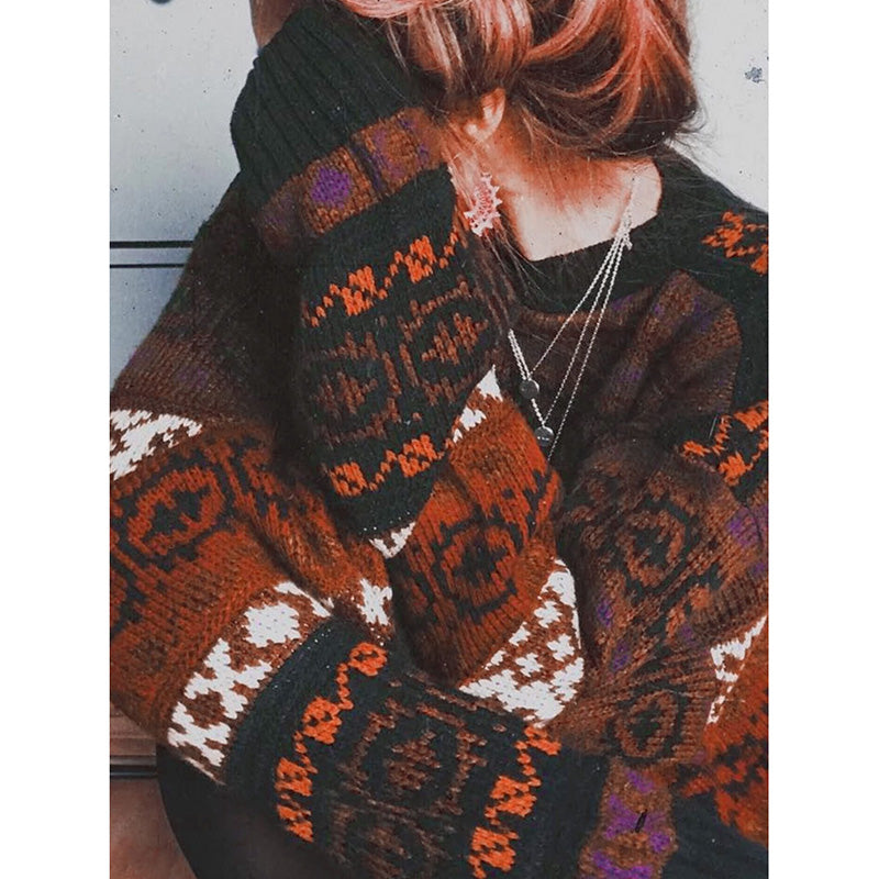 Printed Loose Bat Sleeve Knit Casual Sweater