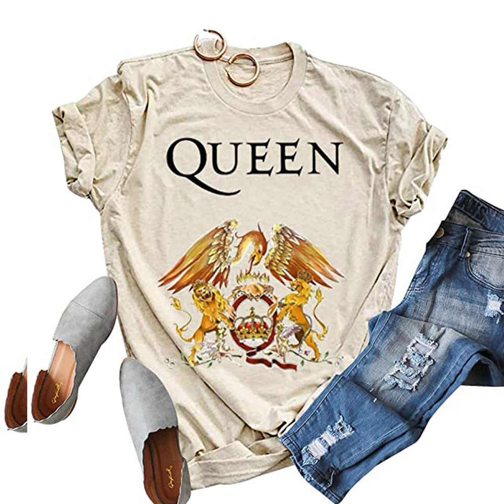Queen's Print Round Neck Short Sleeve T-Shirt