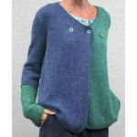 Casual Patchwork Knit Top Button V-neck Sweater