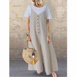 Cotton Linen Loose Buttons Sleeveless Jumpsuit