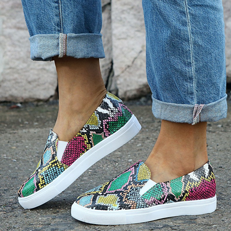 Snake-Printed Shoes Casual Comfy Loafers