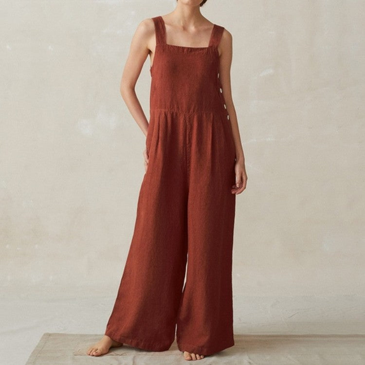 Wide-Leg Side Button Cotton Linen Pocket Jumpsuit