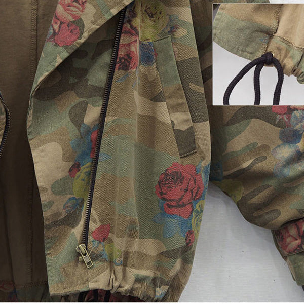 Camouflage Floral Printed Long Sleeve Zipper Jacket