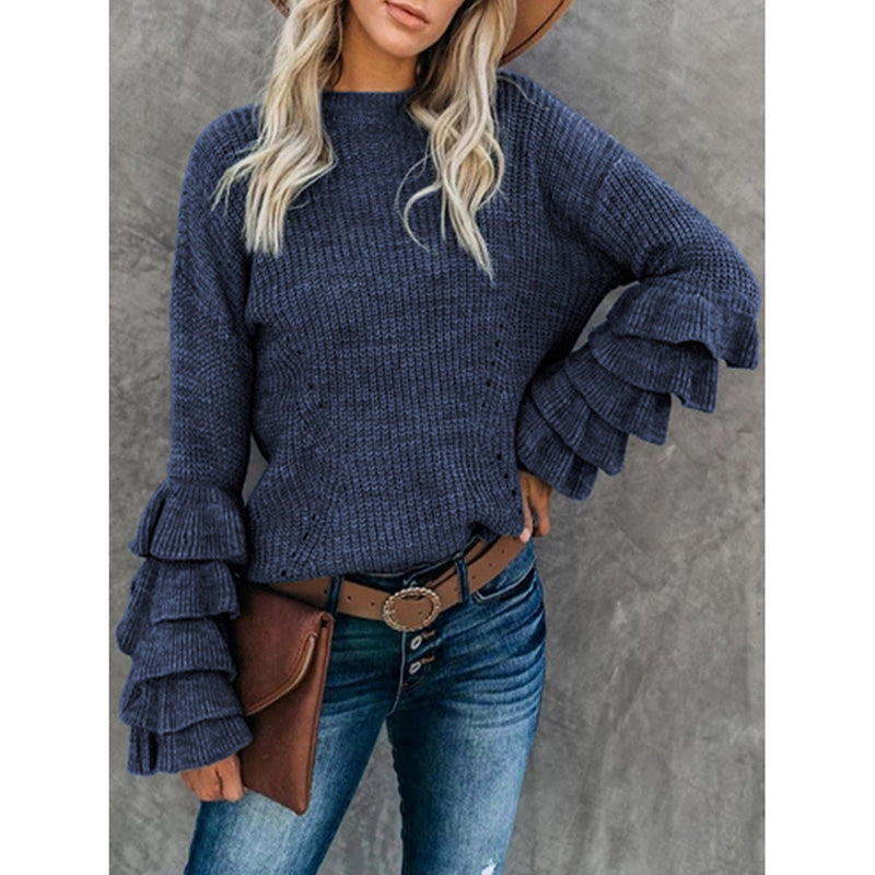 Fashion Petal Sleeve Knitwear Casual Sweater