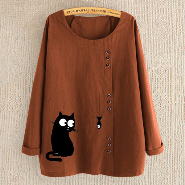Buttoned Cartoon Cat Printed Loose Long-Sleeved Shirt