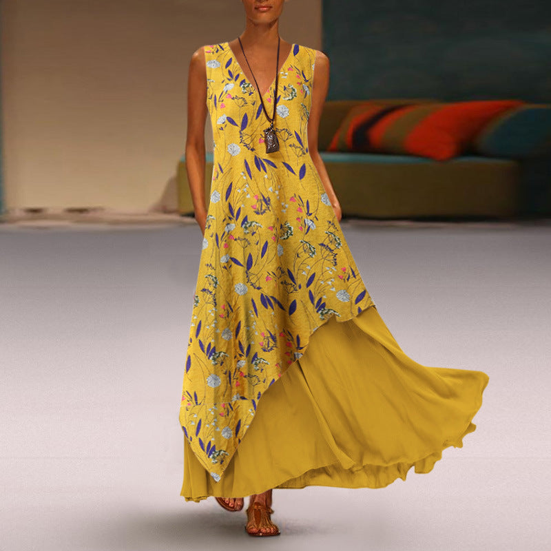V-Neck Sleeveless Printed Maxi Dress with Pockets