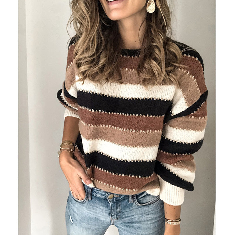 Striped Patchwork Knit Sweater