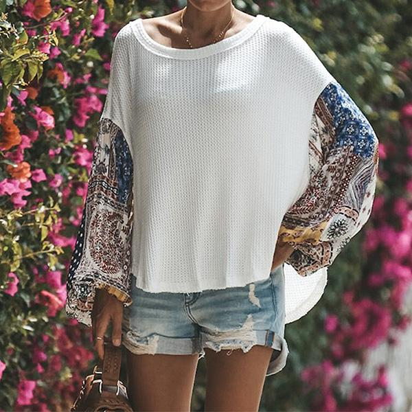 Casual Balloon Sleeve Crew Neck Knitted Paneled T-Shirt