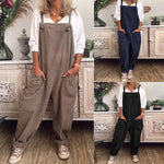 Casual Retro Pocket Sleeveless Cotton Linen Jumpsuit