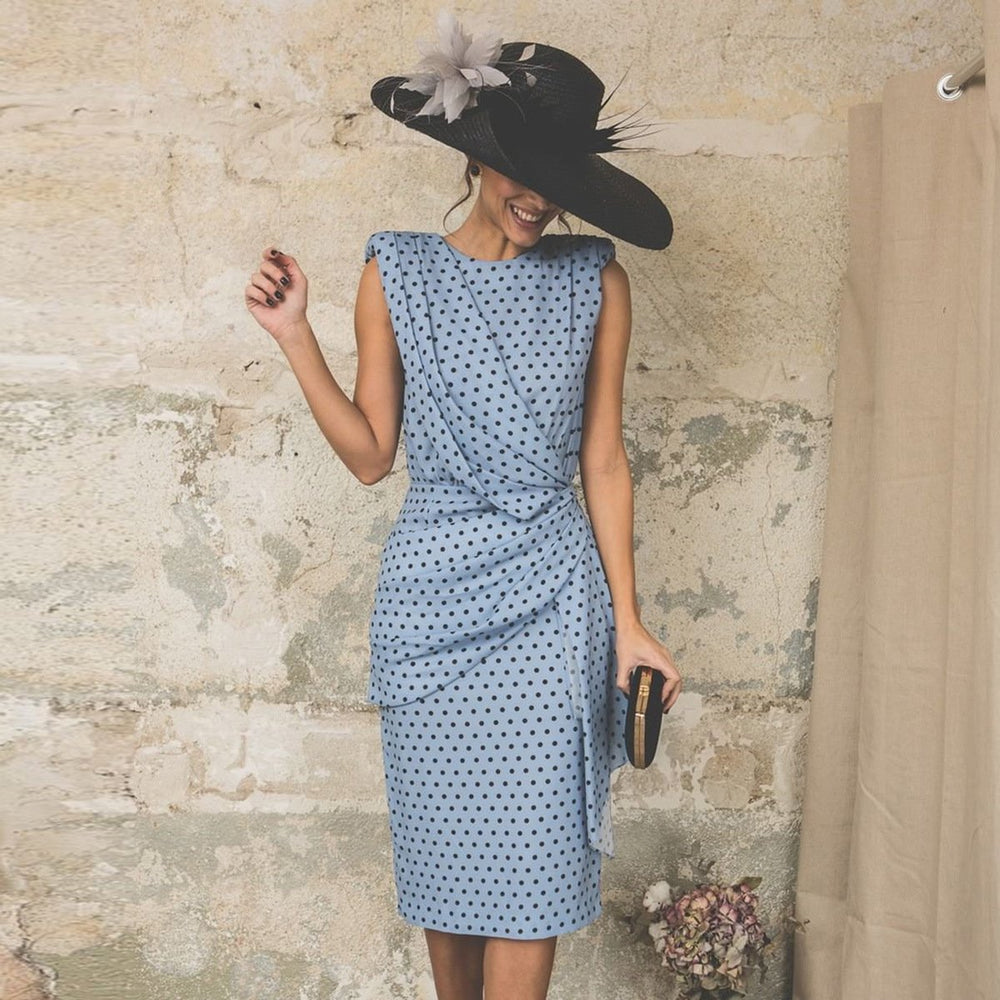 Elegant Polka Dot Slim Midi Dress