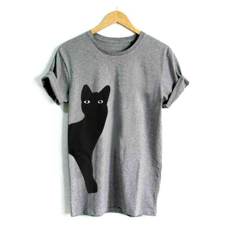 Casual Cat Printed Cotton T-Shirts - MagCloset