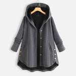 Irregular Lower Hem Hooded Coat