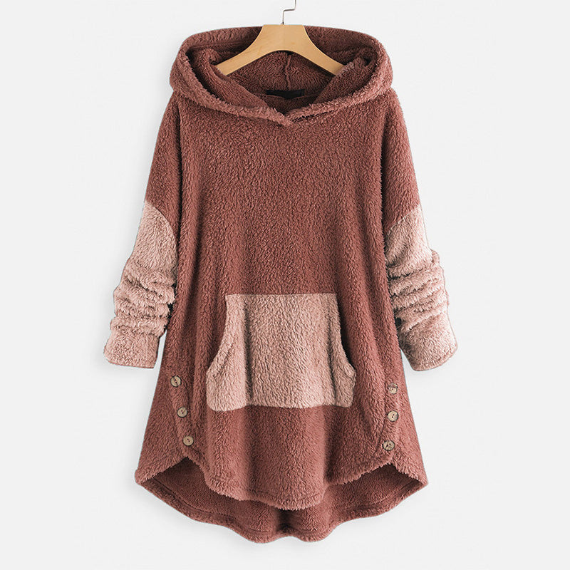 Contrast Colors Patchwork Fleece Hoodie