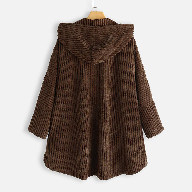 Fashion Corduroy Hooded Buttoned Coat