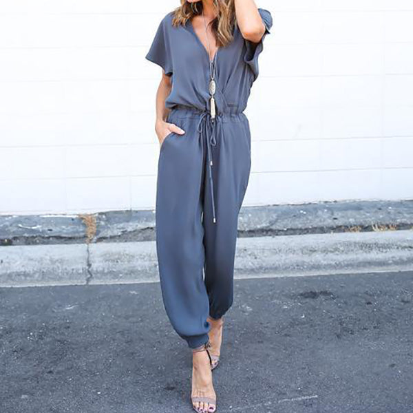 V-Neck Solid Color Jumpsuits Bottoms