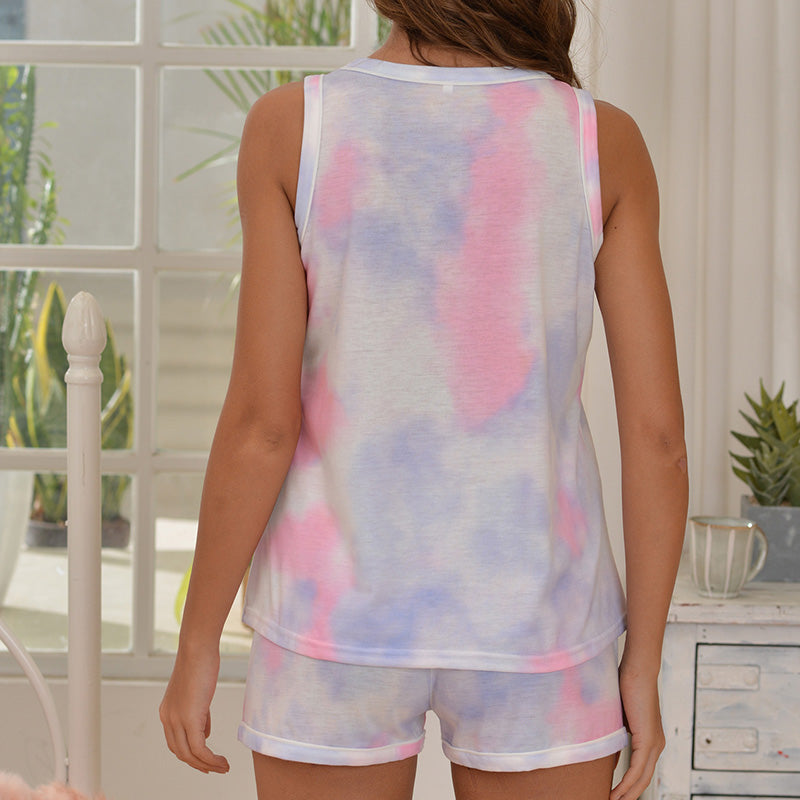Women Tie-Dyed Vest and Shorts Suit for Home Wear