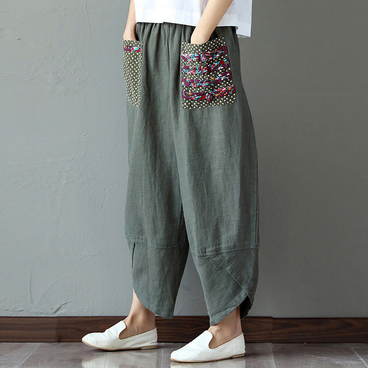 Casual Patchwork Elastic Loose Irregular Printed Pants - MagCloset